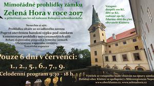 Mimořádné prohlídky zámku Zelená Hora v roce 2017