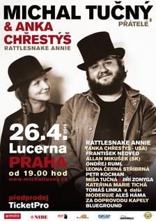 """Vzpomínkový koncert """"Michal Tučný, přátelé & Anka Chřestýš"""", který se uskuteční 26. dubna v pražské Lucerně, má již konkrétní podobu"""